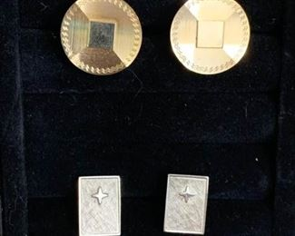 Gold Cuff Links, Silver Cuff Links with Matching Tie Clip