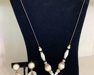 Matching Beaded Necklace and Earring Set