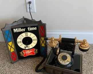 Miller Lite Clock and Old Phone