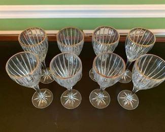 Set of 8 Stemmed Wine Glasses with Gold Trim