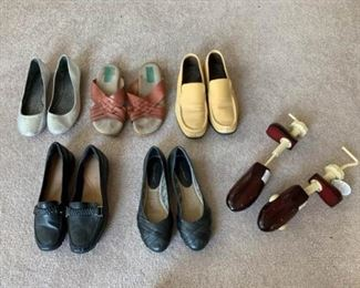 Shoe Lot with Wooden Shoe Stretchers