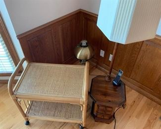 Side Table with Lamp and Cart