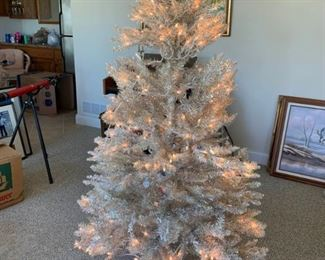 White Christmas Tree with Ornaments and Tree Skirt