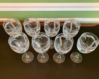 Wine Glass Set of 8  Palm Tree Pattern