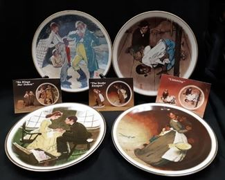 Set of 4 Norman Rockwell Huckleberry Finn collectors plates