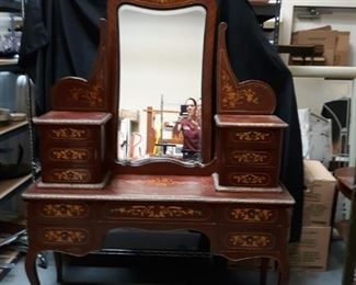 Antique writing desk with intricate inlay