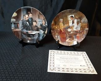 2 Abraham Lincoln collectible plates
