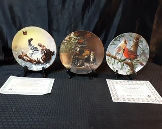 3 animal themed collectible plates