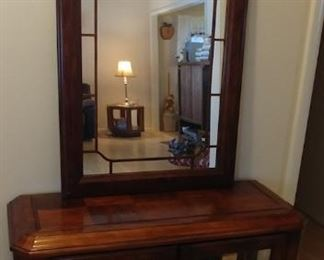 """Display Cabinet 38.5"""" by 28.25"""" by 14.5"""" and Mirror 25"""" by 41"""" Asking $225.00 for the set"""