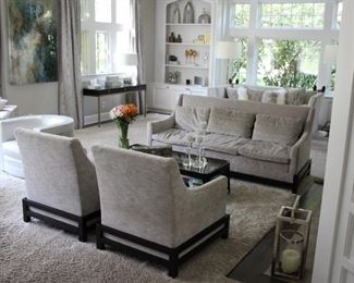 Baker Cradle sofa & pair chairs