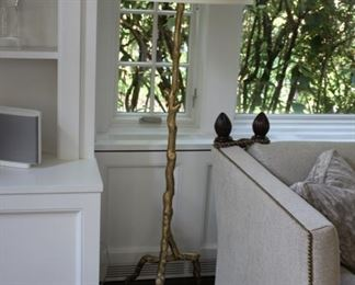 Pair Baker Arbor gold branch floor lamps