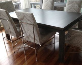 Hickory Chair modern dining table w/ 6 Vanguard Michael Weiss dining chairs
