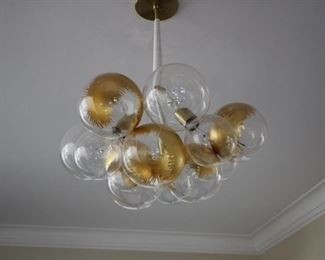 "Jean Pelle ""Bubble Chandelier"" w/ gold leaf finish ceiling fixture"