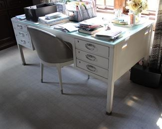 Hickory Chair white catalyzed lacquer desk; Hickory Laurent chair  in Echo Limestone leather