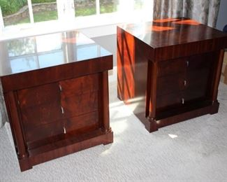 "MBR Set – Bolier ""Rosenau Biedermeier"" King Sleigh Bed, Pair Night Stands & Chest on Chest & dresser"