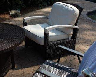 Castelle Firepit; Gloster 2 lounge chairs & Loveseat