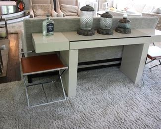 Lacquer console/desk (SOLD) & 2 Frag Italy leather & chrome X stools