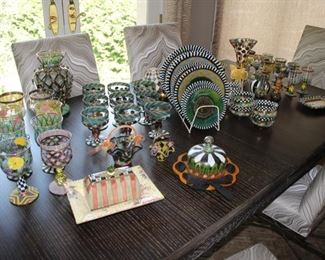 "MacKenzie Childs ""Circus"" collection - glass plates, stemware, vases, bowls…"