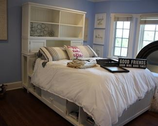 White Queen bed with storage
