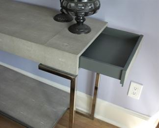 Shagreen/chrome console table with end drawers