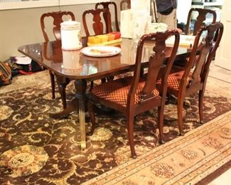 Kindel dining table, 8 chairs & breakfront