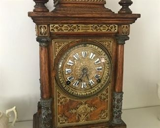 Ansonia mantle clock, oak with brass mounts