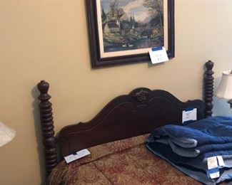 mahogany bed and painting