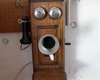 VINTAGE HANDCRANK OAK WALL TELEPHONE