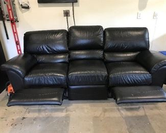 Pleather sofa with two recliners $250