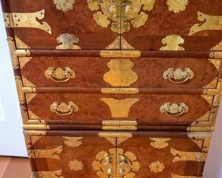 Two brass wood asian chests stacked on top. Also has bracket feet that could be attached to bottom.