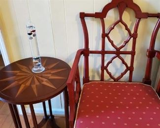 Chinese Chippendale style side chair and accent table