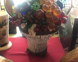 Czech glass fruit basket lamp