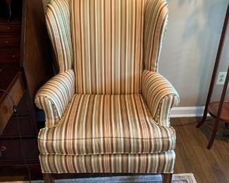 #5	(2) Gold/Burgandy Stripe wing-back chairs   $75 each	 $150.00