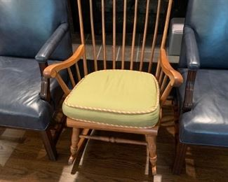 #6	(2) Blue Leather Arm Side Chairs      $120  for better one  ($75 for one as is)	 $196.00  #7	Rock Maple Rocking Chair w/lime cushion	 $75.00