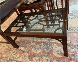 #11	Drexel Glass Top Coffee Table   22x36x17  	 $125.00