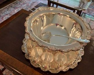 #13	Towle Silverplate Punch Bowl w/12 cups and underplate w/ladle	 $150.00