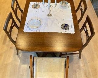 Antique (1900's-1950's) Tomlinson Genuine Mahogany - Federal Style  - Double Pedestal Dining Table banded with brass tips - 2 leaves - seats 6 to 8 - $2,500 (includes 7 chairs)