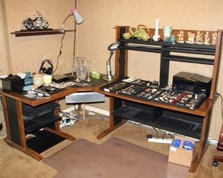 COSTUME JEWELRY, ROSEVILLE TEAPOT, WELLER VASE, HUMMELS, CRYSTAL, KINDLES, DESK UNIT, PRINTER, ETC