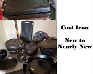New and Like new Cast Iron Cookware: 2 piece rectangular cooker with top, extra-large skillets, Dutch Ovens by Lumberjack, Camp Chef and Lodge
