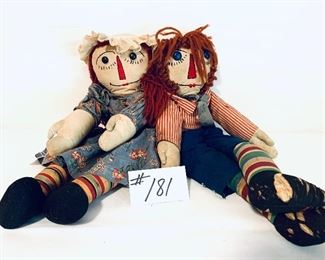 "ANTIQUE/VINTAGE RAGGEDY ANN AND ANDY. 20-21 "" L  $250"