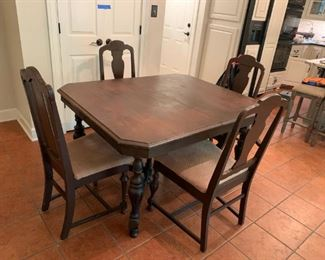 #1	Wood Cross Leg Table w/4 chairs  (all as is)  43x53x30	 $75.00  as is chair missing 1 arm and have 2 more piece chairs too.