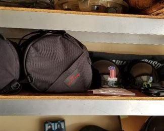 Helmets, gloves, packs