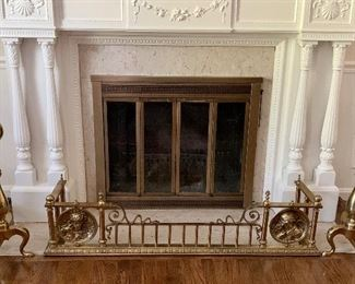Fireplace fender and andirons FENDER IS SOLD