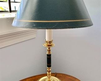 """$175 Pair of lamps with green shades; 20"""" to top of shade, shade has some cracks, 13"""" diameter and Maitland-Smith tilt-top table detail (One of two)"""