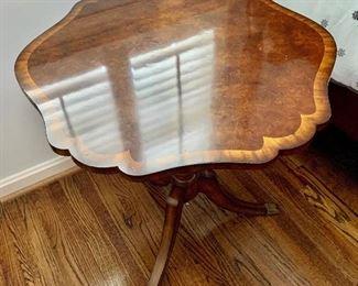 "$450. Maitland-Smith tilt top, pedestal table; 30""x30""x30"""
