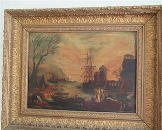 19th C. Harbor scene  oil on canvas.  This piece is in excellent condition.