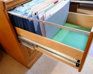 "$110 - Legal sized Oak File cabinet, locking. 19"" w x 25"" d x 29"" h (now)"