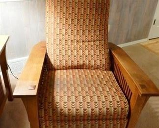 """$550 - Authentic Stickley Morris Chair Recliner. Manufactured 1997.  Great condition, fabric needs a little cleaning. 37.5""""d x 34"""" w."""