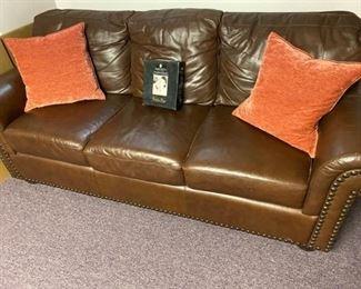 003 Brown Leather Sofa