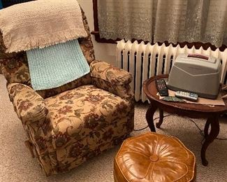 Vintage recliner and ottoman, antique oval side table